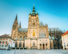 Famous landmark St. Vitus Cathedral Prague, Czech Republic - stock photo