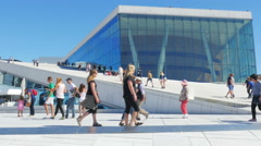 OSLO - NORWAY, AUGUST 2015: people at opera house - stock footage