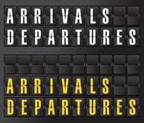 arrival and departures sign on airport board - stock illustration