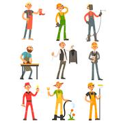 Men Profession Colourful Set Stock Illustration