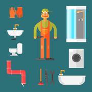 Plumber and Equipment Vector Illustration Stock Illustration