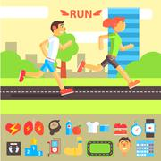 Jogging and Running Set Stock Illustration