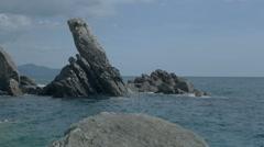 Rocks at Zoagli Beach Italy - 29,97FPS NTSC Stock Footage