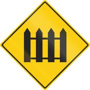 Warning road sign in Thailand - Guarded railroad crossing - stock illustration