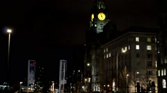 Liverpool's Historic Waterfront Buildings At Night - stock footage