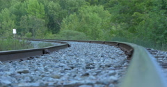 Close view of the railway at Caledon, Canada Stock Footage
