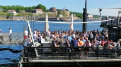 OSLO - NORWAY, AUGUST 2015: people drinking enjoying old city Stock Footage