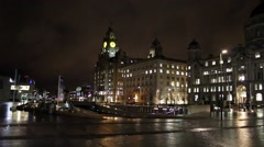 Liverpool's Historic Waterfront Buildings At Night Stock Footage