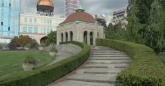 View of a pagoda in Oakes garden Theater at Niagara Falls, Canada Stock Footage