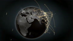 Growing global network. Internet concept. Satellites. Orange version. 4K Stock Footage