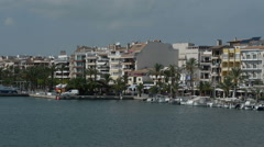 Spanish Seaside Buildings and Boats Stock Footage
