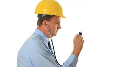 Doctor Wearing Hard Hat Holding Stethoscope Stock Footage