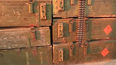 Military box with weapon and bandolier, belt with bullets at the historical fest Stock Footage