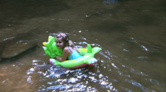 Children Playing In Creek On A Summer Day Stock Footage