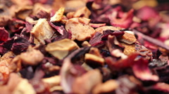 Pile of fruit tea with petals and dry fruit Stock Footage