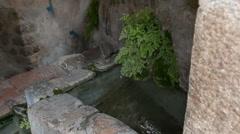 Stone Spanish Water trough Stock Footage