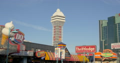 View of Casino Niagara and a spinning sign at Niagara Falls, Canada Stock Footage