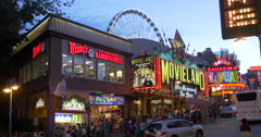 View of crowded Clifton Hill at Niagara Falls, Canada - stock footage