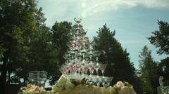 pyramid of wineglasses - stock footage
