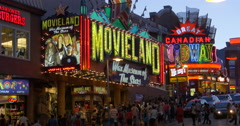 Many people in front of Movieland at Niagara Falls, Canada Stock Footage