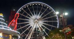 Beautiful view of spinning Niagara Skywheel at Niagara Falls, Canada Stock Footage