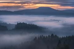 Foggy dawn over the Bohemian Switzerland Stock Photos