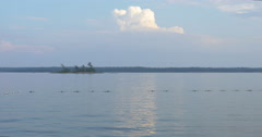 View of buoys floating in the lake at Killbear Provincial Park Stock Footage