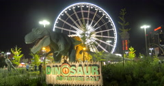 The entrance of Dinosaur Adventure golf at night at Niagara Falls, Canada Stock Footage