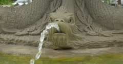 Close view of a sculpted  water fountain at Kitchener, Canada Stock Footage
