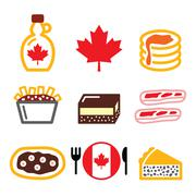 Stock Illustration of Canadian food icons - maple syrup, poutine, nanaimo bar, beaver tale, tourtiere