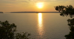 Stock Video Footage of View of an amazing golden sunset on lake at Killbear Provincial Park