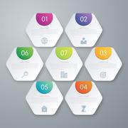 Vector illustration infographics seven hexagons - stock illustration