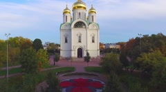 Aerial view of Cathedral Church in the Park Stock Footage