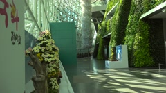 Lush green wall in the Seoul City Hall - stock footage