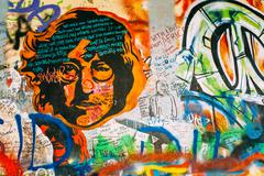 Famous place in Prague - The John Lennon Wall, Czech Republic - stock photo