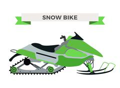 Vector winter snow motorcycle illustration. Snowmobile isolated on white Piirros