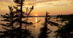 Beautiful golden sundown on the lake at Killbear Provincial Park Stock Footage