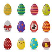 Easter eggs vector flat syle icons isolated on white background - stock illustration
