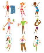 Beauty fitness people weight loss vector cartoon illustration Stock Illustration