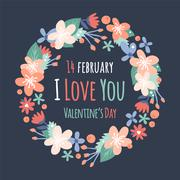 Vintage Valentine Day decoration flowers - stock illustration