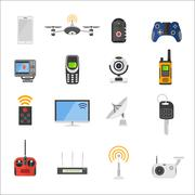 Smart house remote control electronic gadgets vector icons - stock illustration