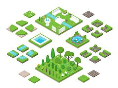 Landscaping isometric 3d garden design elements - stock illustration