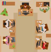 Busy business people sitting on table vector illustration - stock illustration