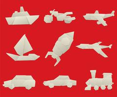 Stock Illustration of Vector illustration of simple origami paper vehicle and transport icons