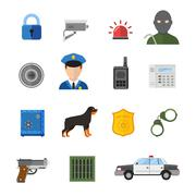 Vector security icons isolated on white background - stock illustration