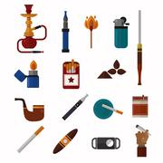 Smoking silhouette vector icons collection - stock illustration