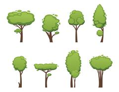Nature vector cut tree collection elements - stock illustration