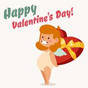 Valentine Day cupid angel cartoon style vector illustration Stock Illustration