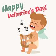 Valentine Day cupid angel cartoon style vector illustration - stock illustration