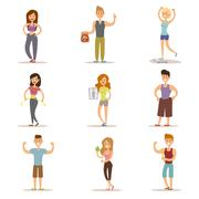 Beauty fitness people weight loss vector cartoon illustration - stock illustration